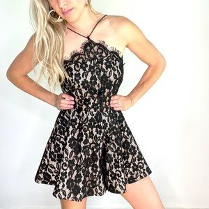 Forever Unique Black & Nude Lace Romper New w/Tags